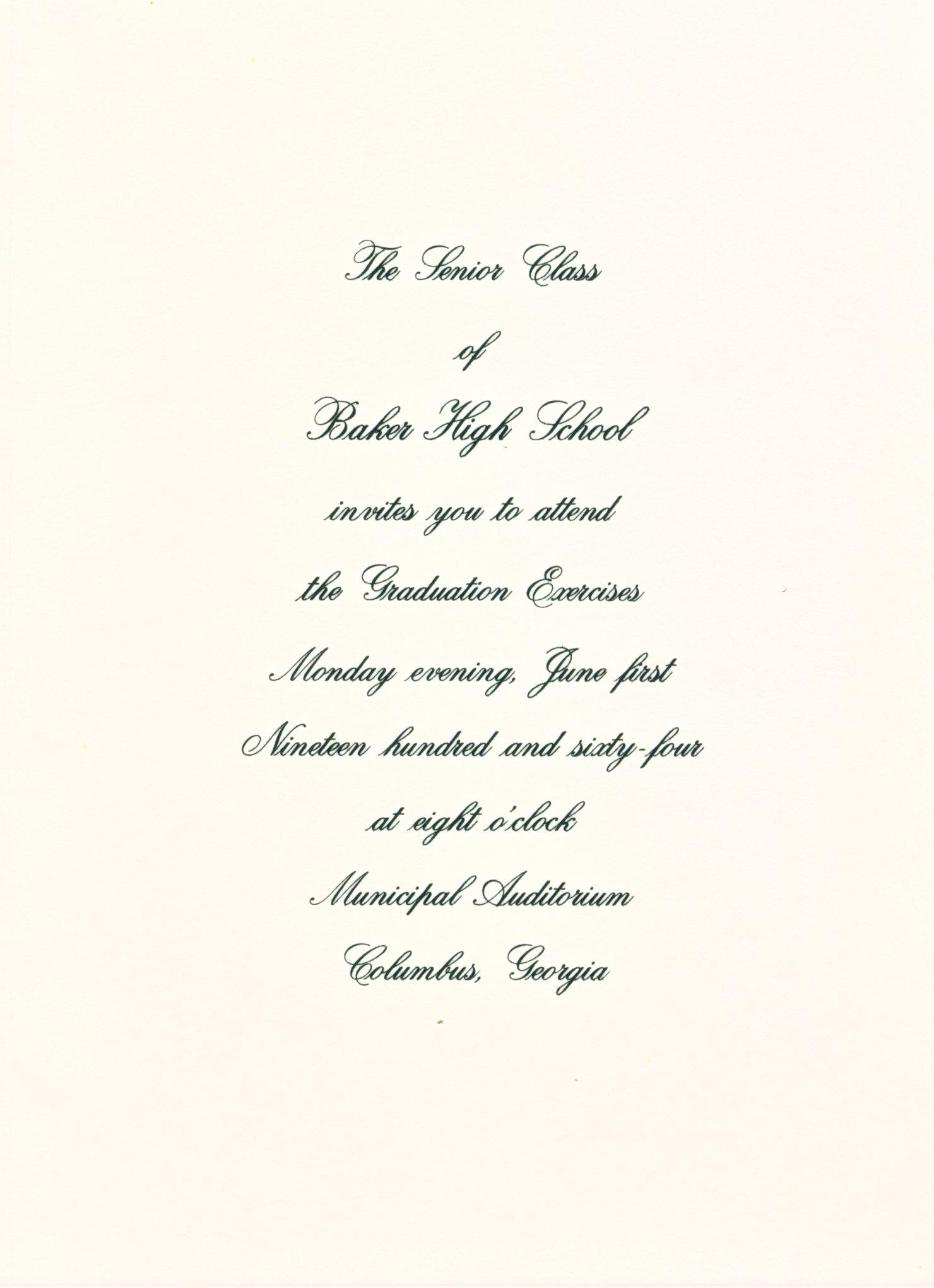 The baker scrapbook of the 1964 graduation invitation stopboris Images